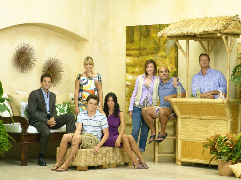Cougar Town cast featuring Courtney Cox, Josh Hopkins, Busy Philipps, Dan Byrd, Brian Van Holt, Christa Miller and Ian Gomez