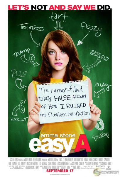 Easy A starring Emma Stone, Penn Badgley, Amanda Bynes, Thomas Haden Church